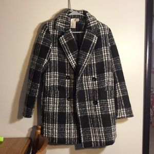 forever 21 black and white plaid pea coat jacket